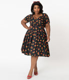 Plus Size Black & Red Raspberry Print Traci Swing Dress