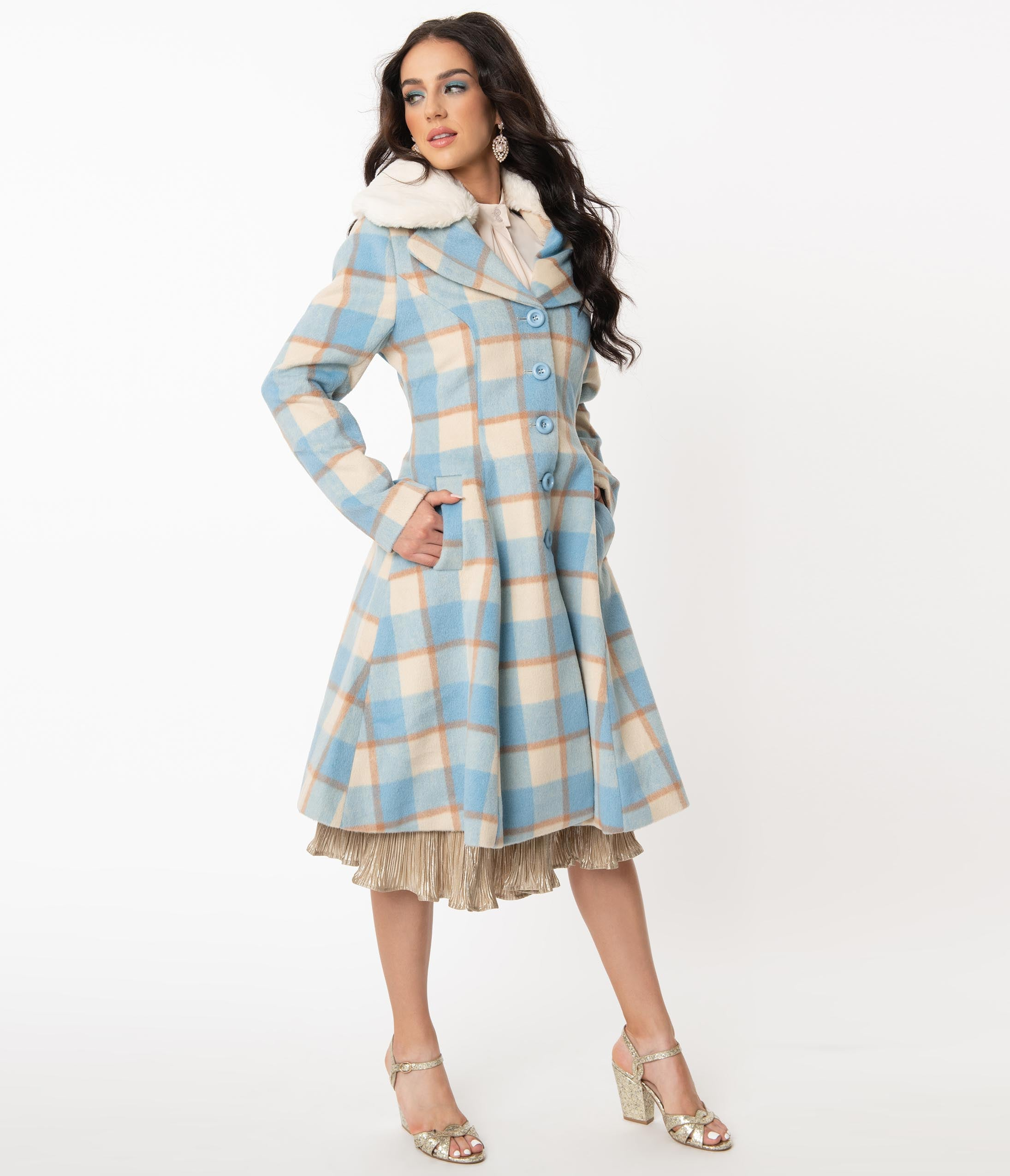60s Mod Clothing Outfit Ideas Hell Bunny 1960S Light Blue  Ivory Plaid Milicent Coat $298.00 AT vintagedancer.com