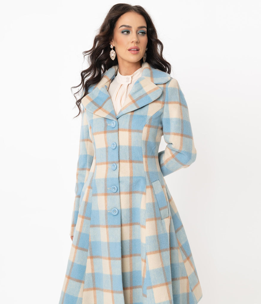 Hell Bunny 1960s Light Blue & Ivory Plaid Milicent Coat