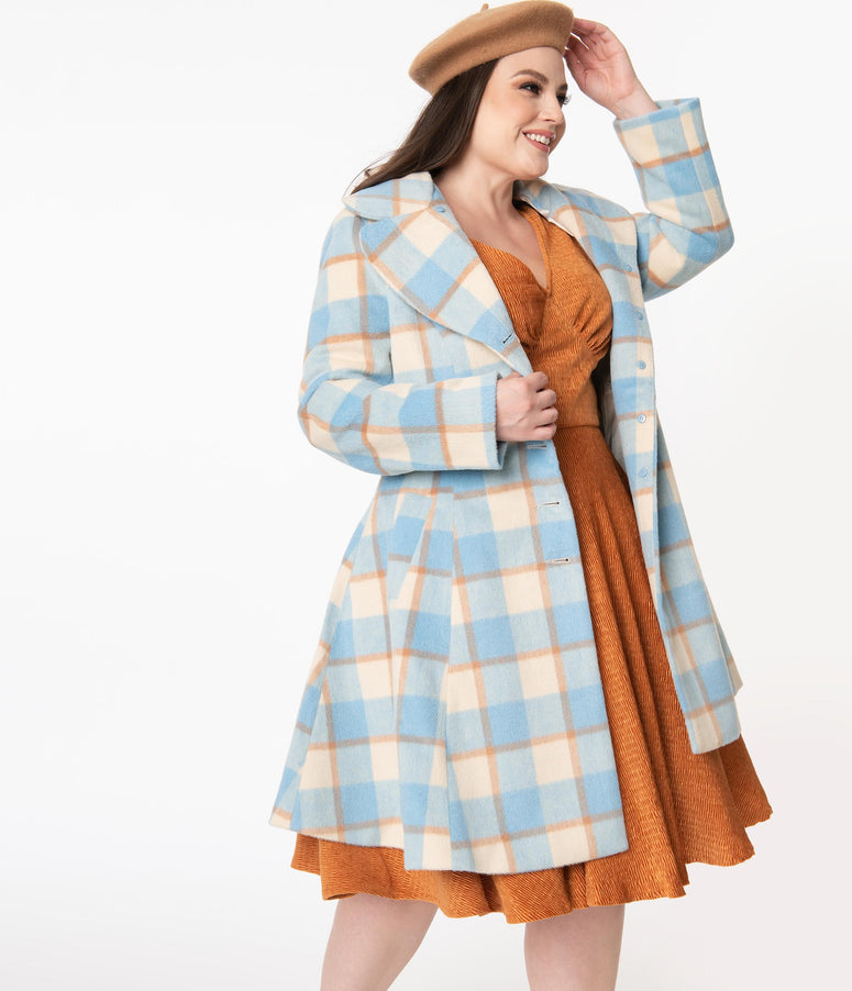 Hell Bunny Plus Size 1960s Light Blue & Ivory Plaid Milicent Coat
