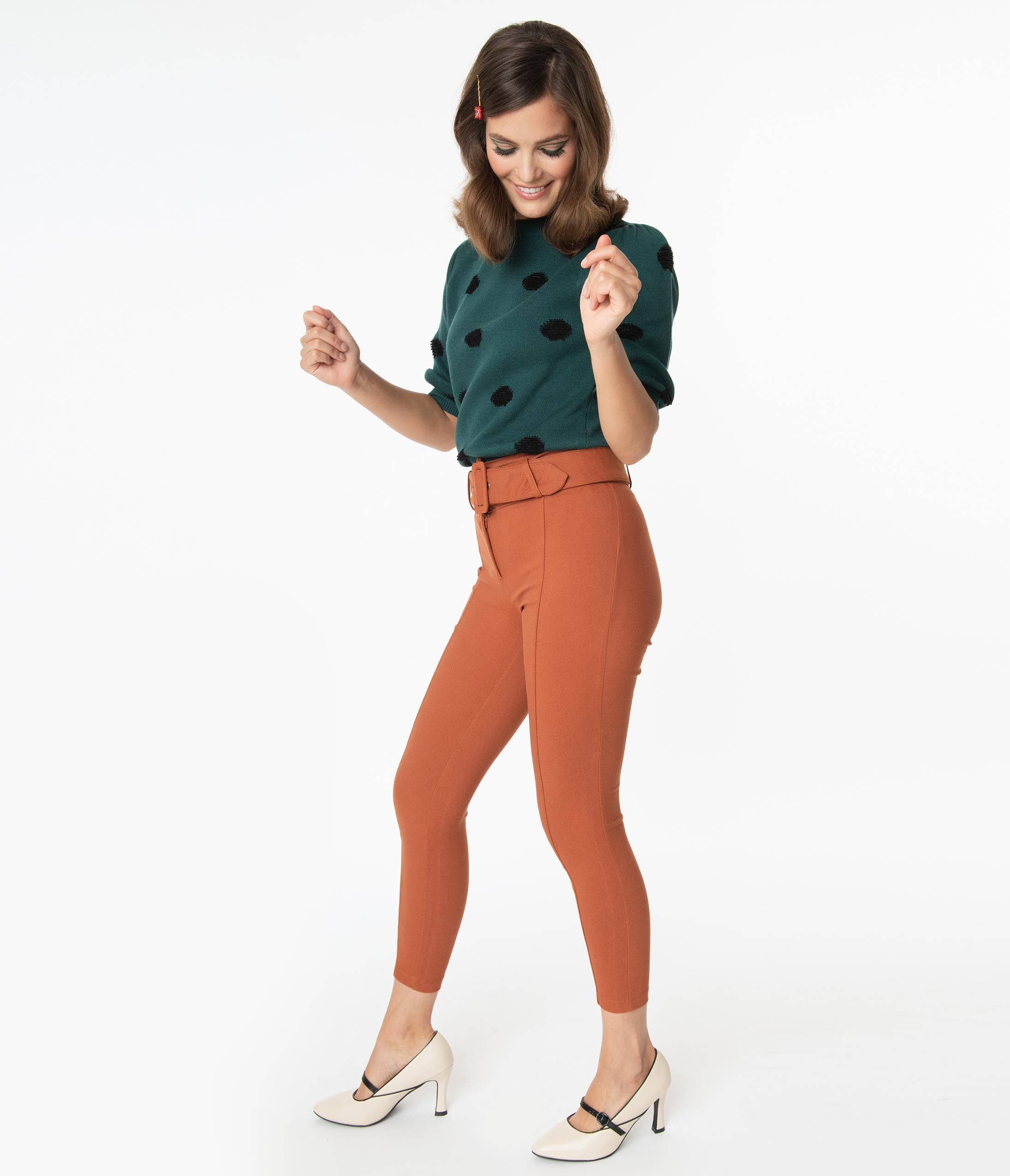 60s – 70s Pants, Jeans, Hippie, Bell Bottoms, Jumpsuits Retro Style Rust High Waist Cropped Skinnies $38.00 AT vintagedancer.com
