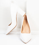 White Leatherette Pointed Toe Heels