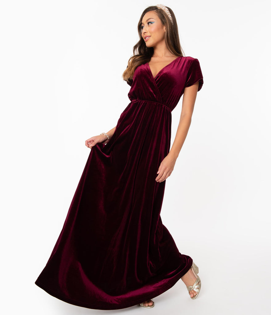 Burgundy Velvet Short Sleeve Maxi Dress