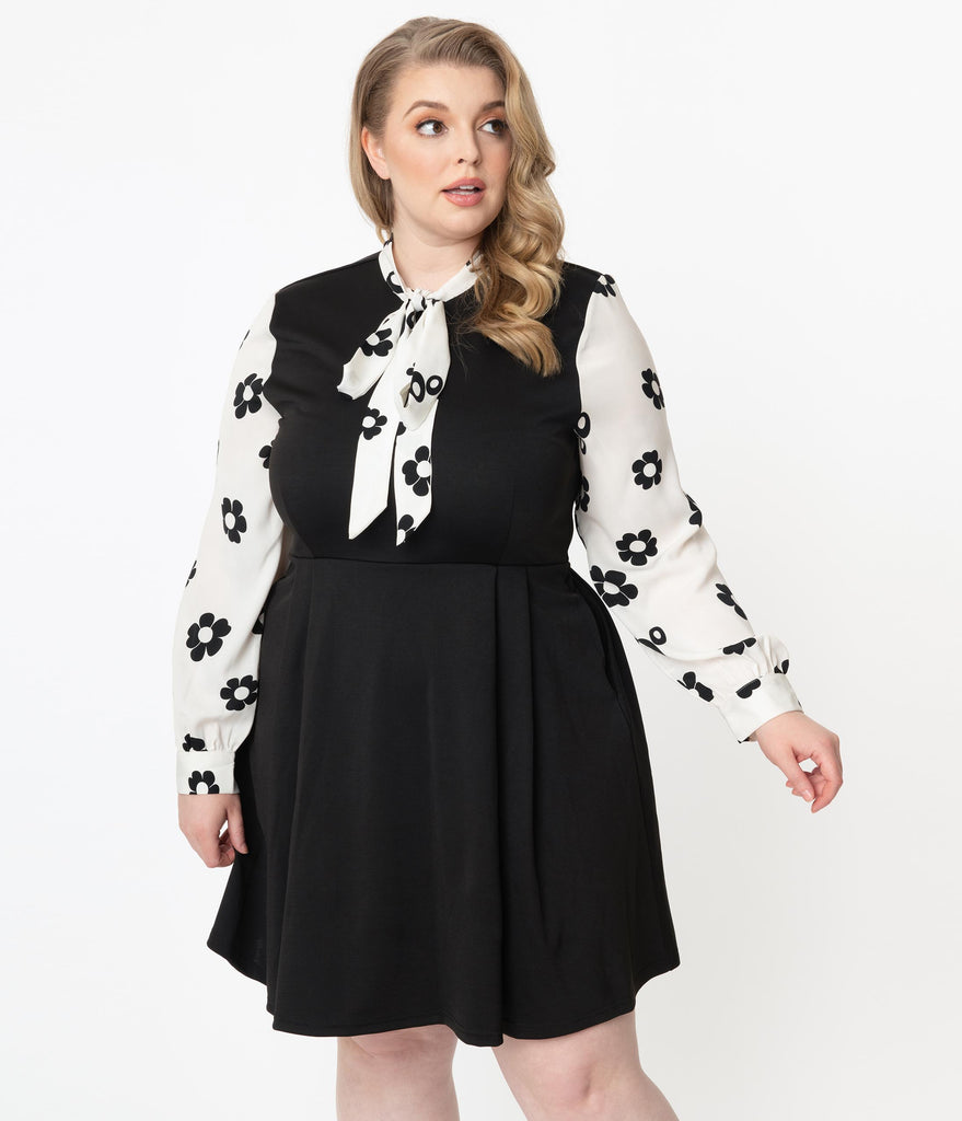 Smak Parlour Plus Size Black & White Daisy Floral Print She.E.O. Fit & Flare Dress