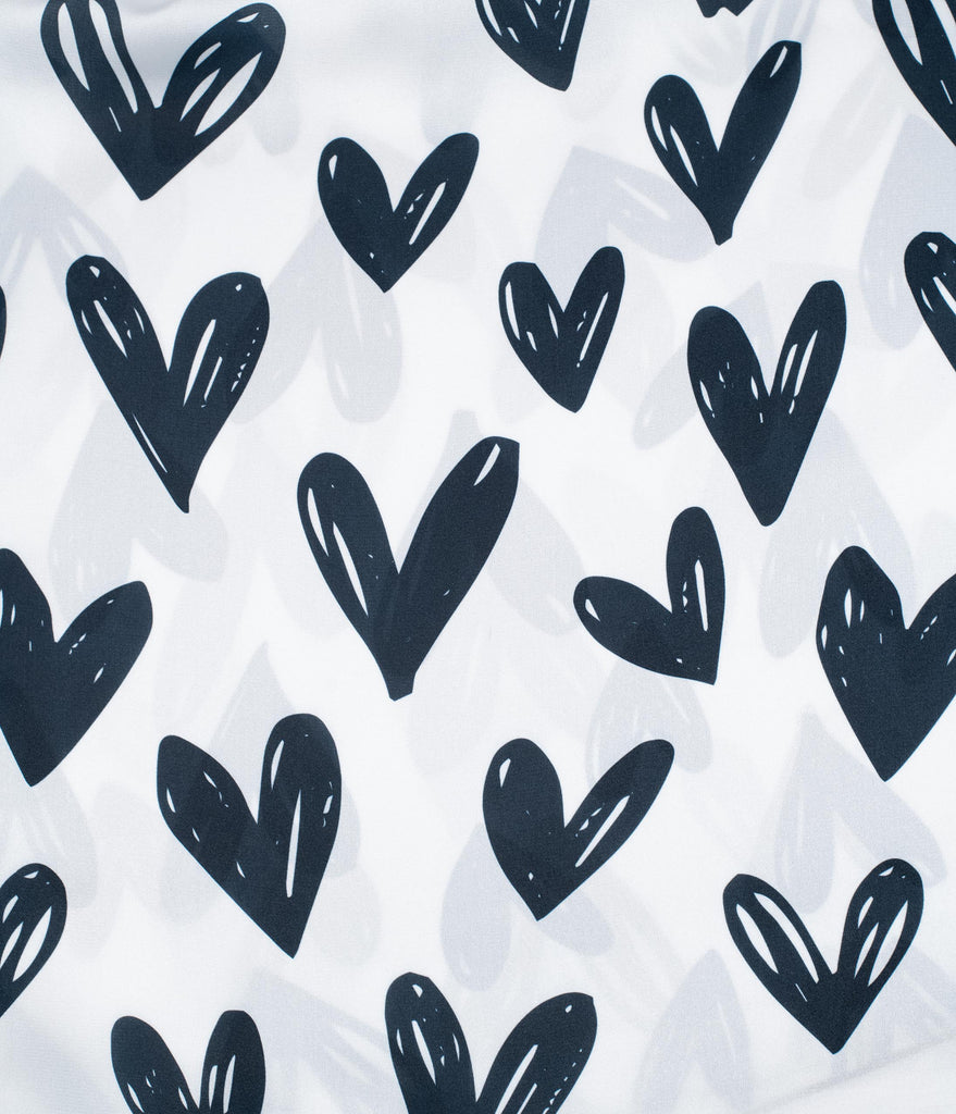 Unique Vintage White & Black Sketch Hearts Print Hair Scarf