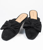 Black Suede Bow Slip On Mules