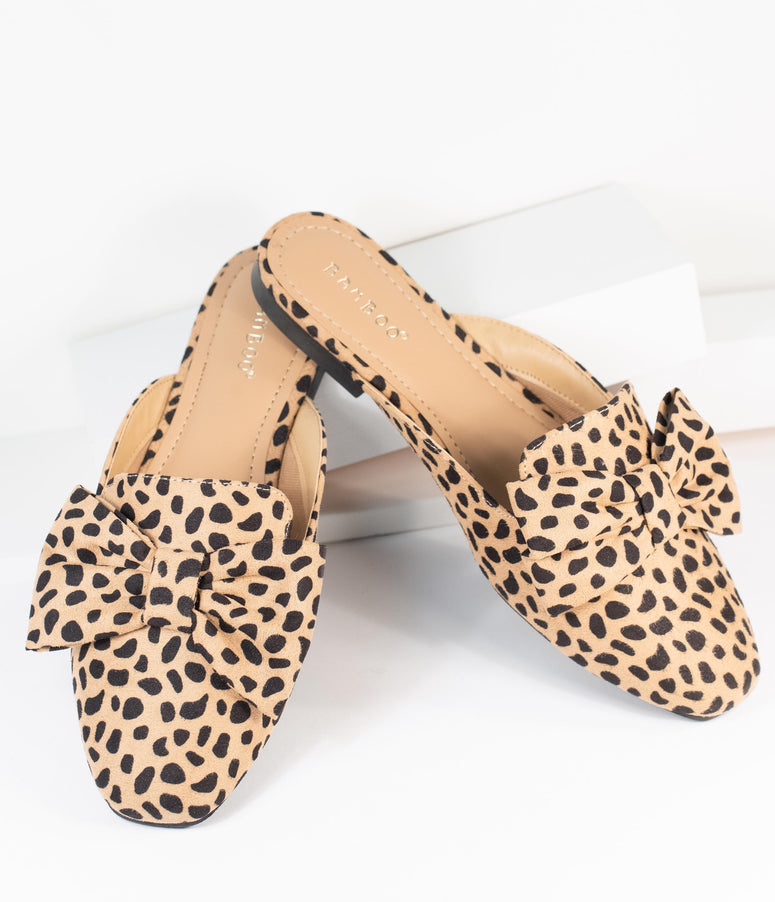 Cheetah Print Suede Bow Slip On Mules