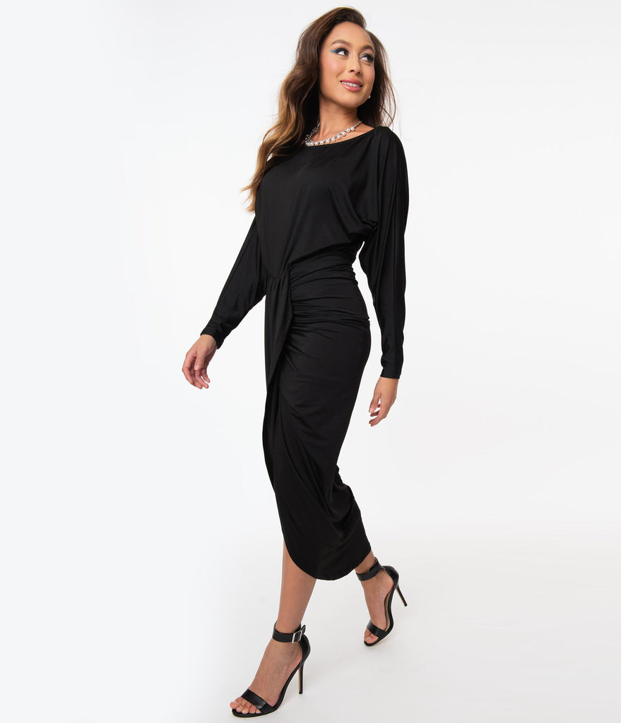 Retro Style Black Fitted Tulip Dress
