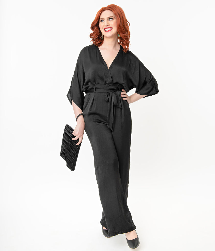 1970s Style Black Faux Two Piece Jumpsuit
