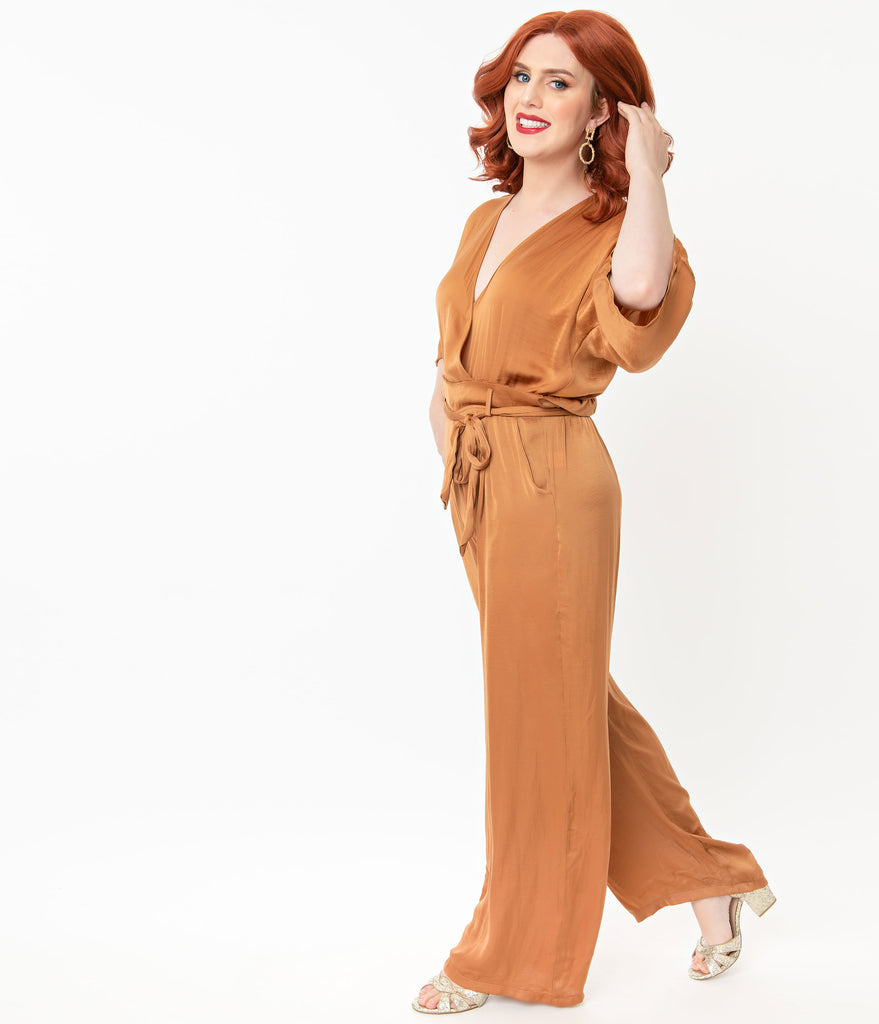 1970s Style Camel Faux Two Piece Jumpsuit
