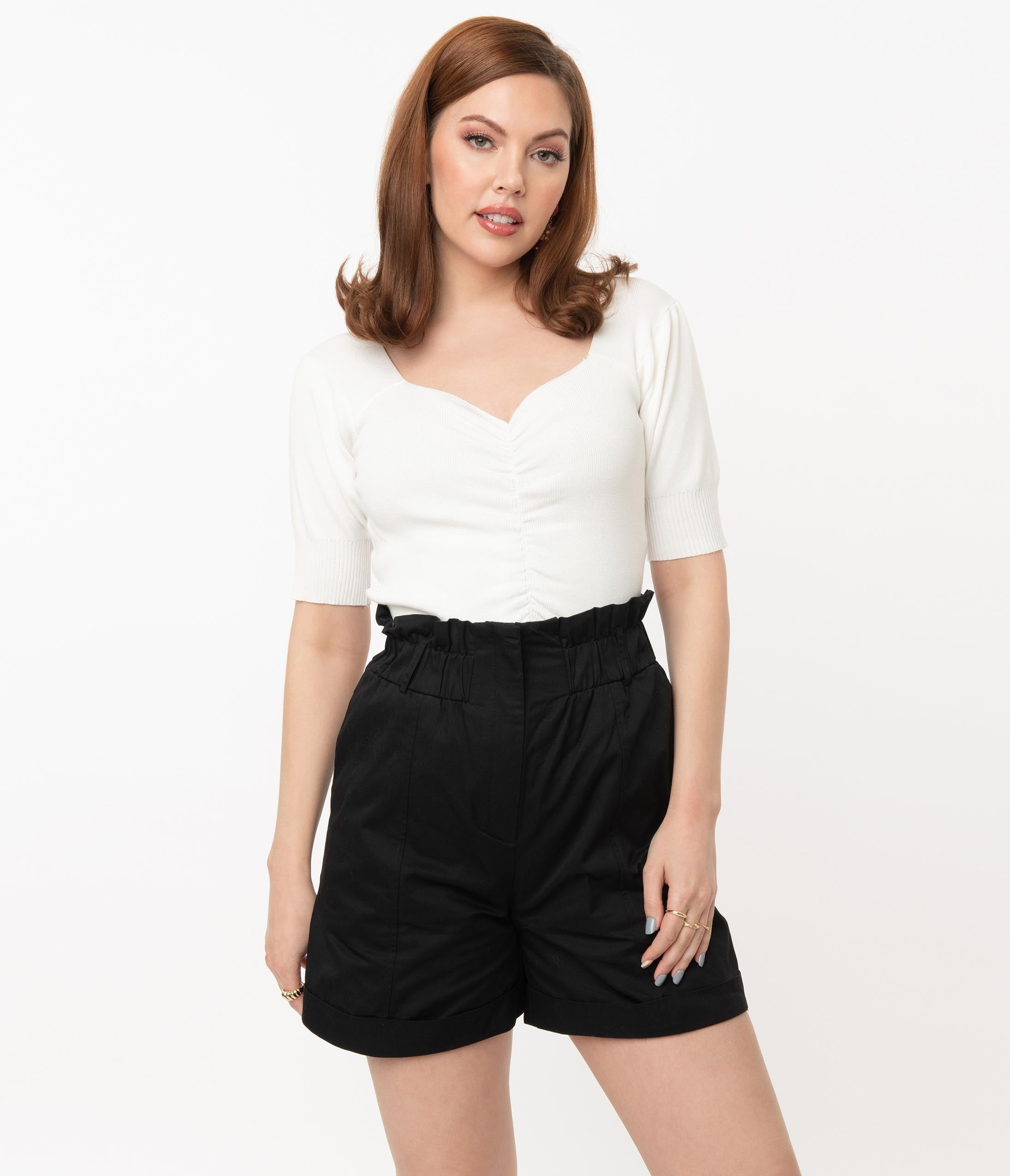 Vintage Shorts, Culottes,  Capris History Retro Style White Gathered Knit Crop Top $58.00 AT vintagedancer.com