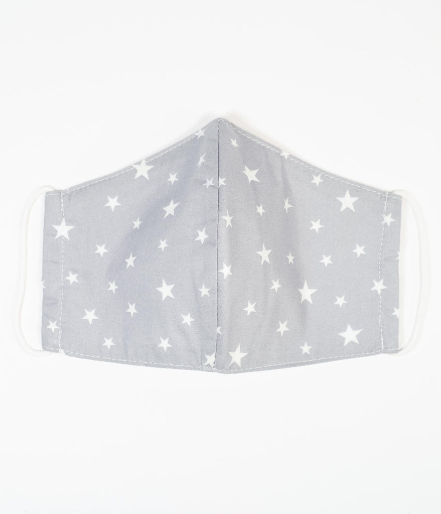 Magnolia Place Grey & White Stars Print Face Mask