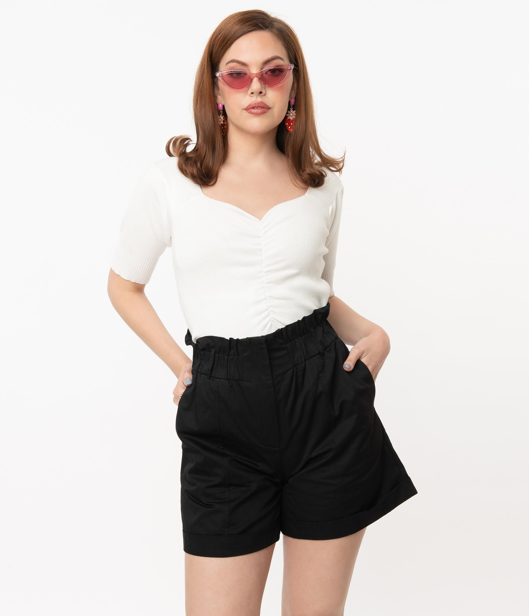 1980s Clothing, Fashion | 80s Style Clothes Vintage Style Black High Waist Shorts $63.00 AT vintagedancer.com