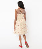 Cream Mesh & Red Sequin Hearts Vanity Swing Dress
