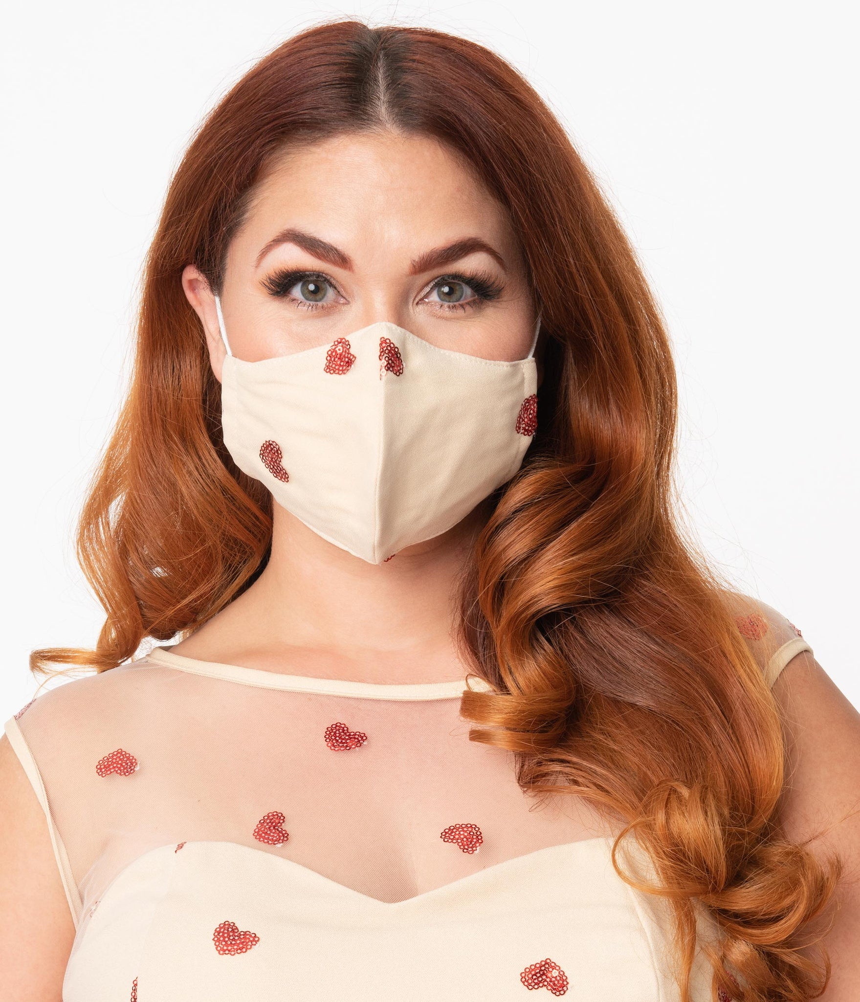 Cream Mesh & Red Sequin Hearts Face Mask
