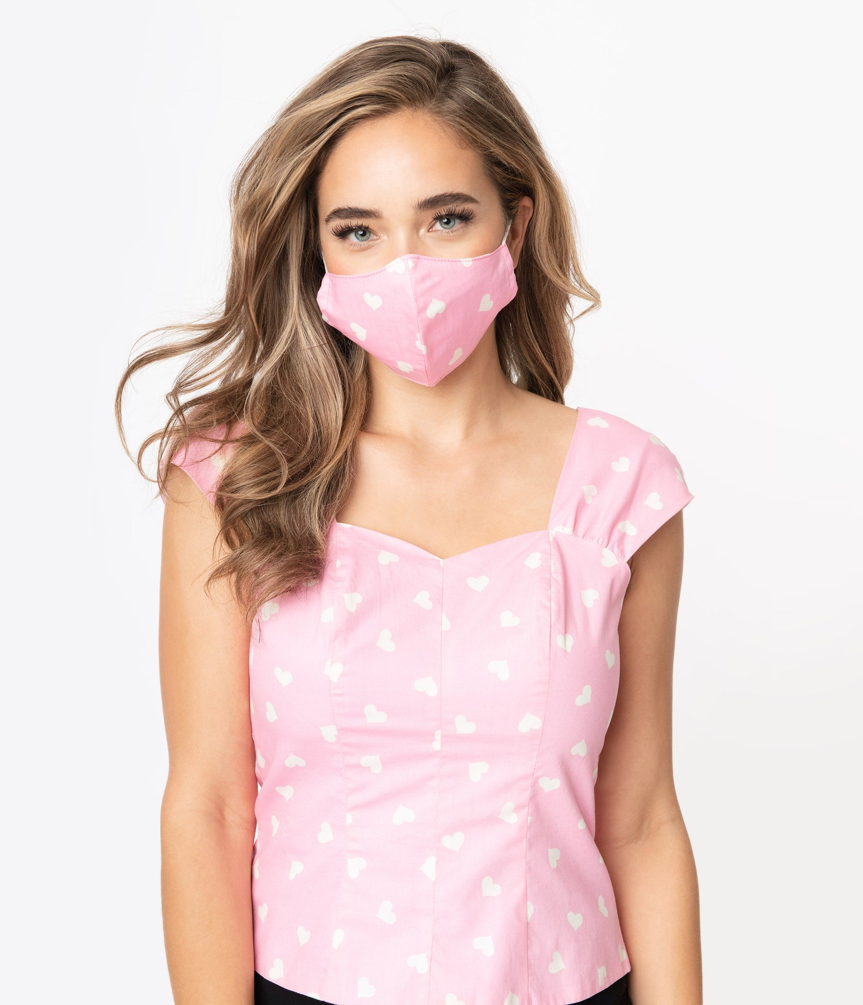 Light Pink & White Hearts Print Face Mask