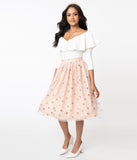 Retro Blush & Pink Sequin Hearts Jane Tulle Skirt