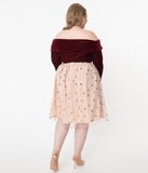 Plus Size Retro Blush & Pink Sequin Hearts Jane Tulle Skirt