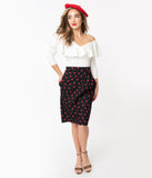 Black & Red Hearts Print Moana Sarong Skirt