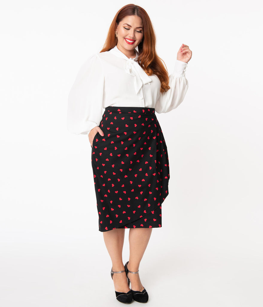 Magnolia Place Plus Size Black & Red Hearts Print Moana Sarong Skirt