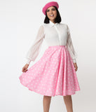 Light Pink & White Heart Print Jenny Swing Skirt