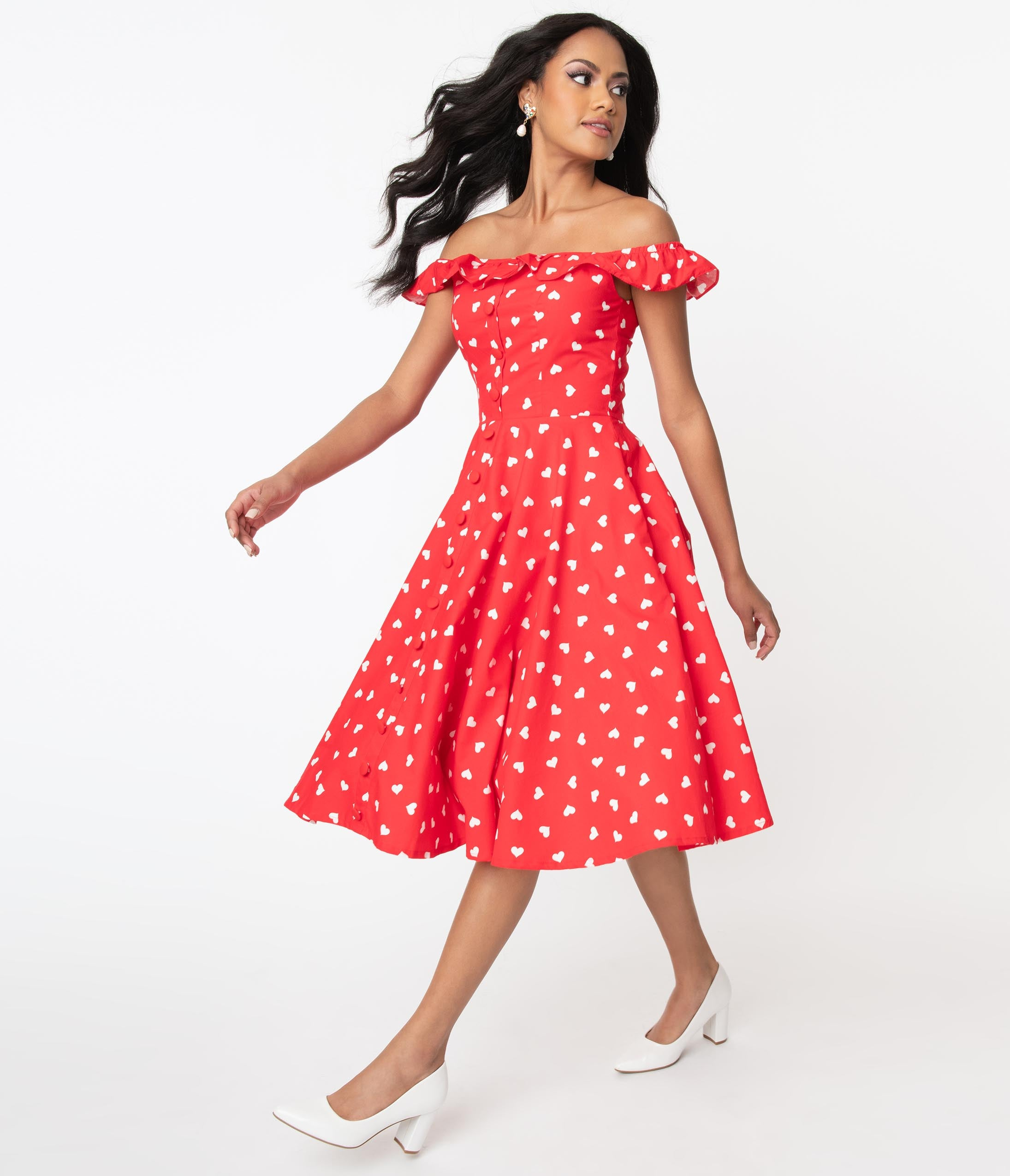 1950s Plus Size Fashion & Clothing History Red  White Heart Print Barbara Swing Dress $78.00 AT vintagedancer.com