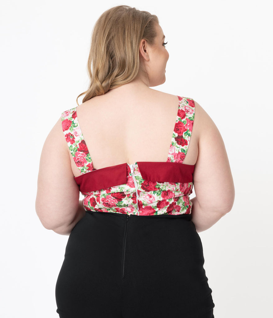 Plus Size White & Red Rose Print Zoey Top