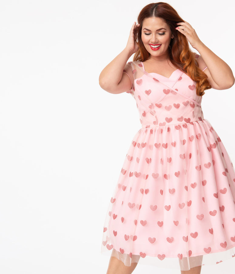 Plus Size Light Pink & Sparkling Hearts Dorothy Swing Dress