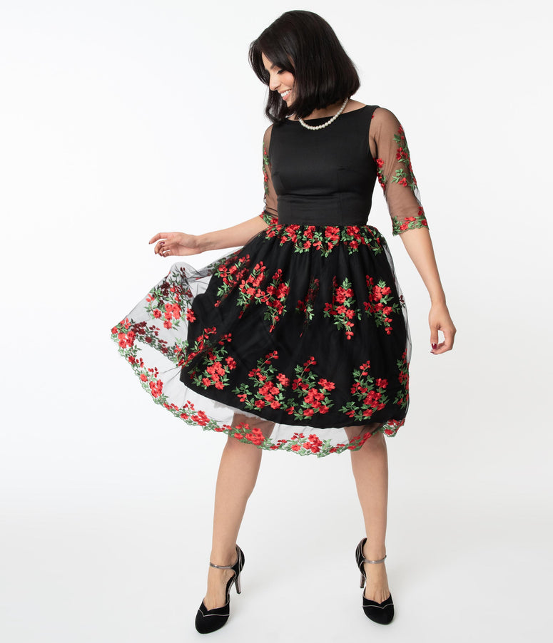 Black Mesh & Red Embroidered Florals Sleeved Audrey Swing Dress