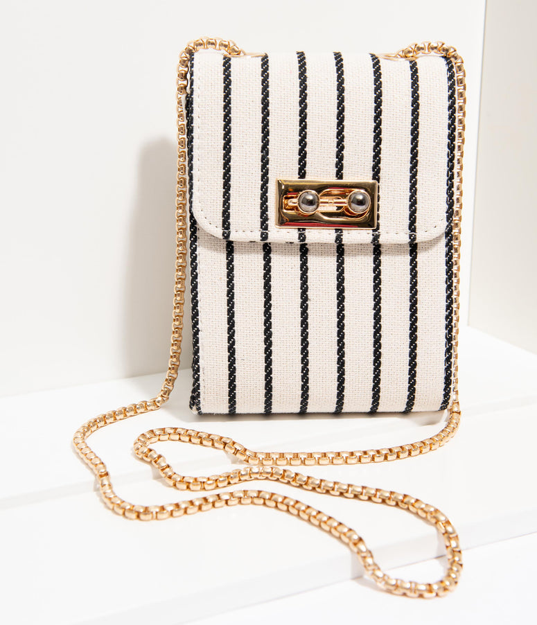 Unique Vintage Ivory & Black Stripe Fabric Crossbody