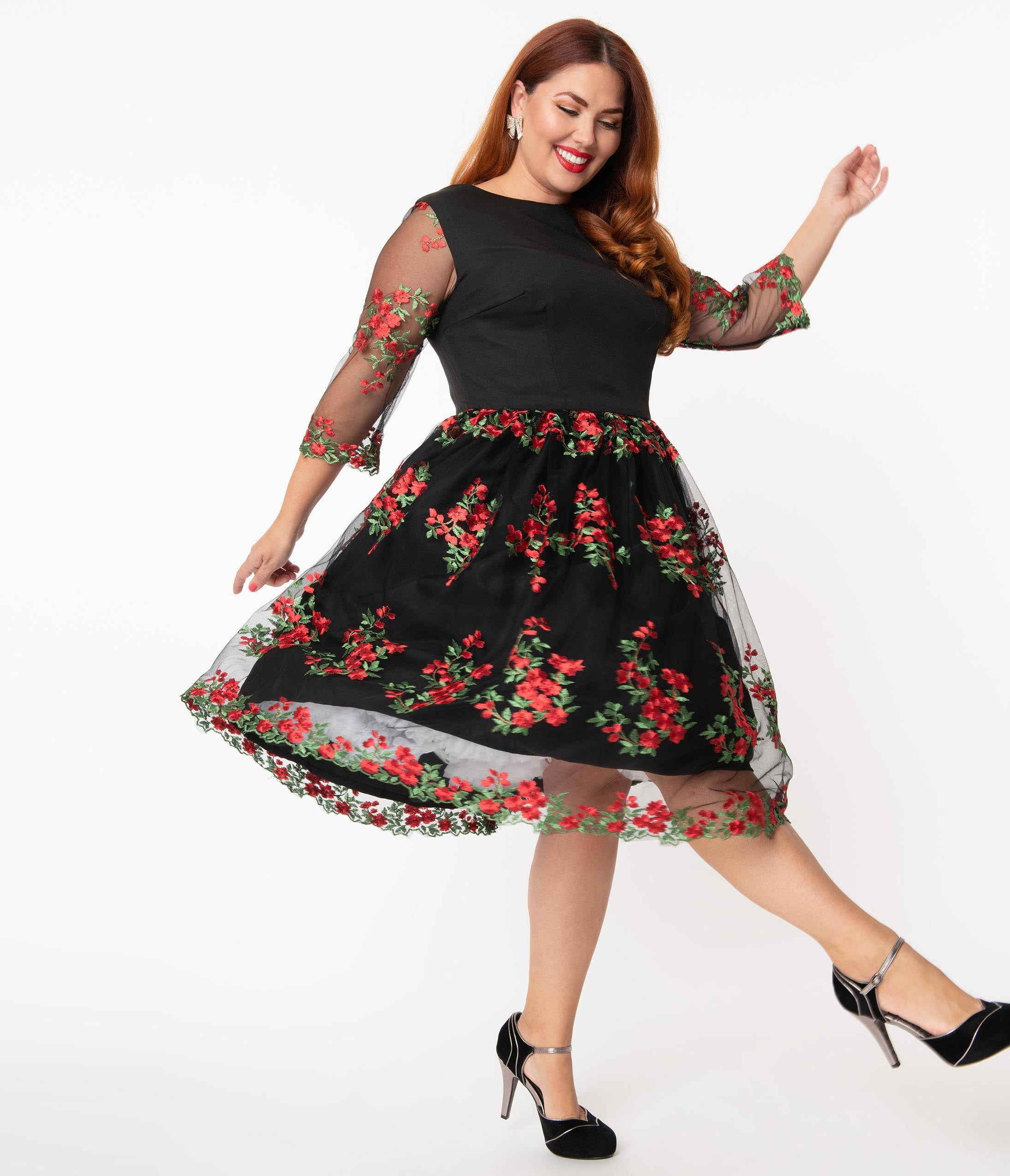 1960s Cocktail, Party, Prom, Evening Dresses Plus Size Black Mesh  Red Embroidered Florals Sleeved Audrey Swing Dress $98.00 AT vintagedancer.com