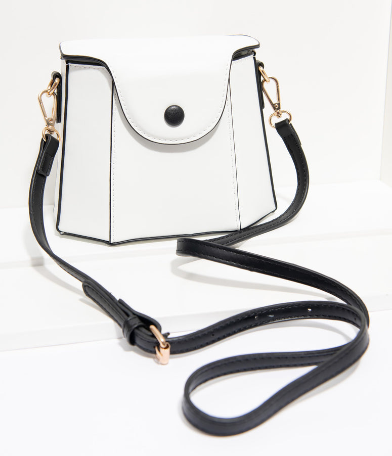 Unique Vintage White Leatherette Geometric Crossbody