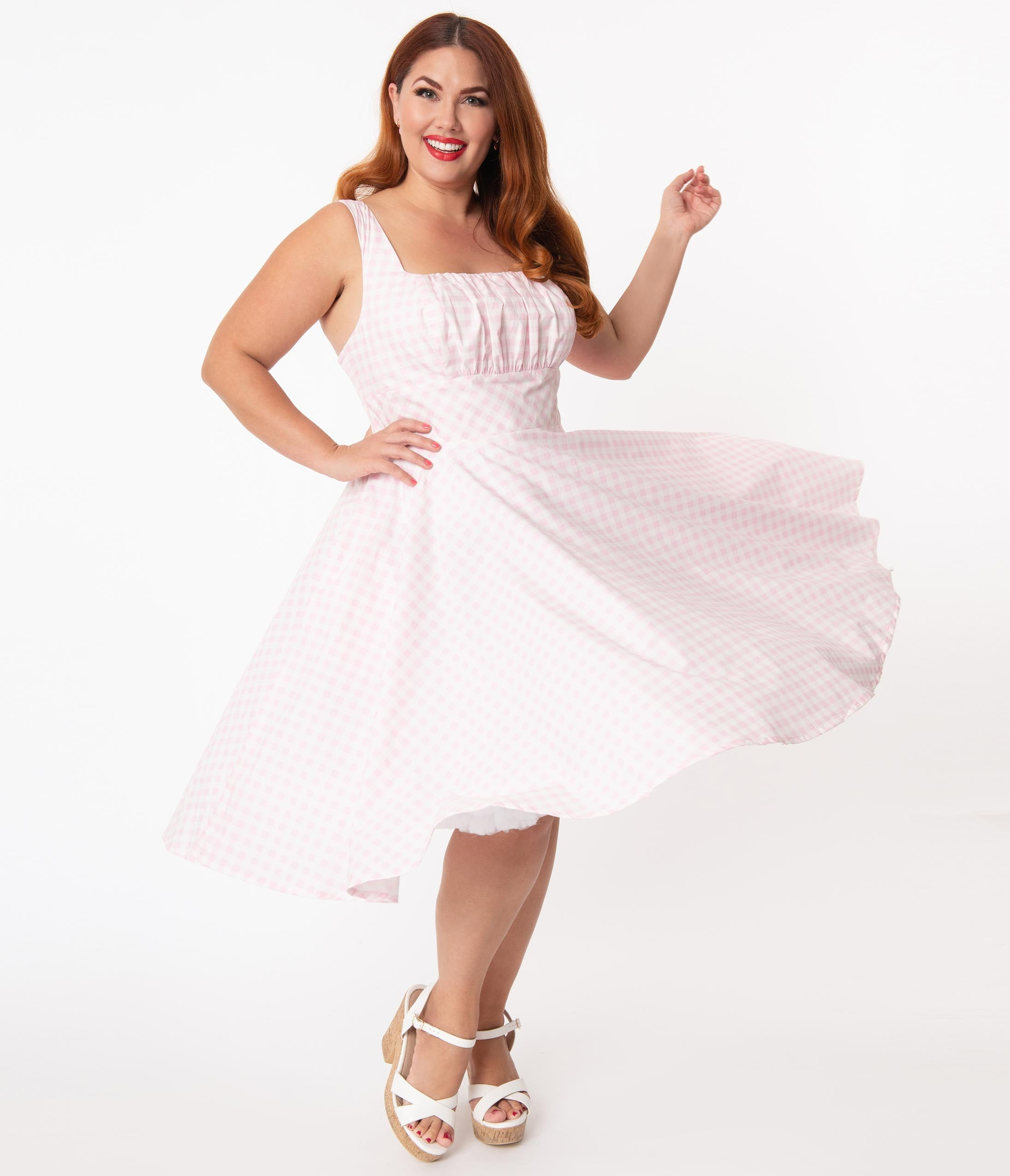 1950s Plus Size Fashion & Clothing History Plus Size Light Pink  White Gingham Amelia Swing Dress $78.00 AT vintagedancer.com