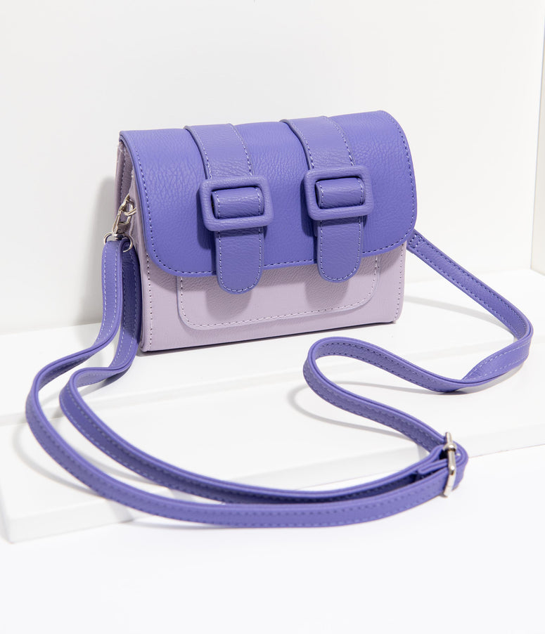 Unique Vintage Purple Leatherette Two Tone Crossbody