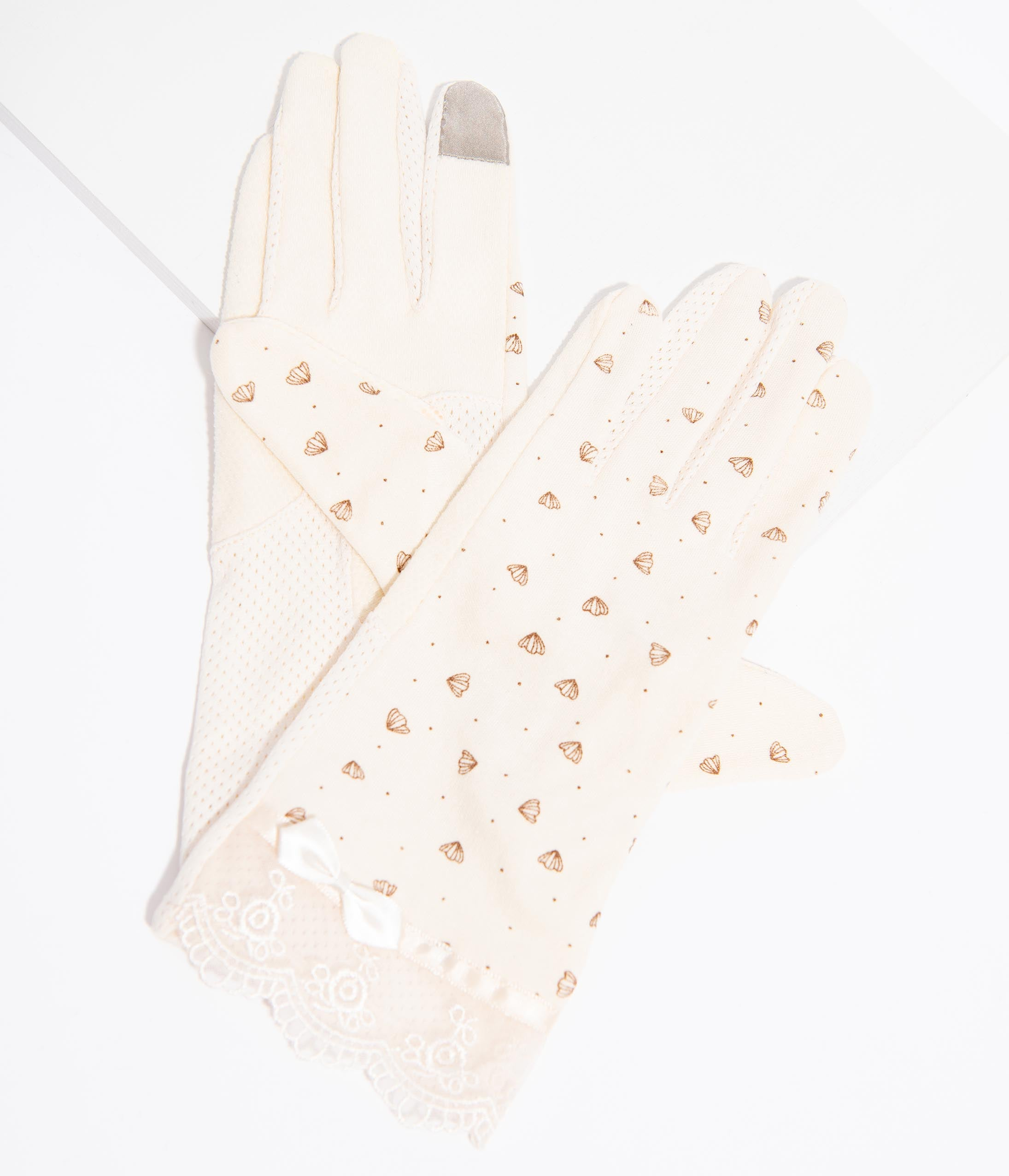 Vintage Style Gloves- Long, Wrist, Evening, Day, Leather, Lace Unique Vintage Cream Lace  Petal Print Gloves $24.00 AT vintagedancer.com