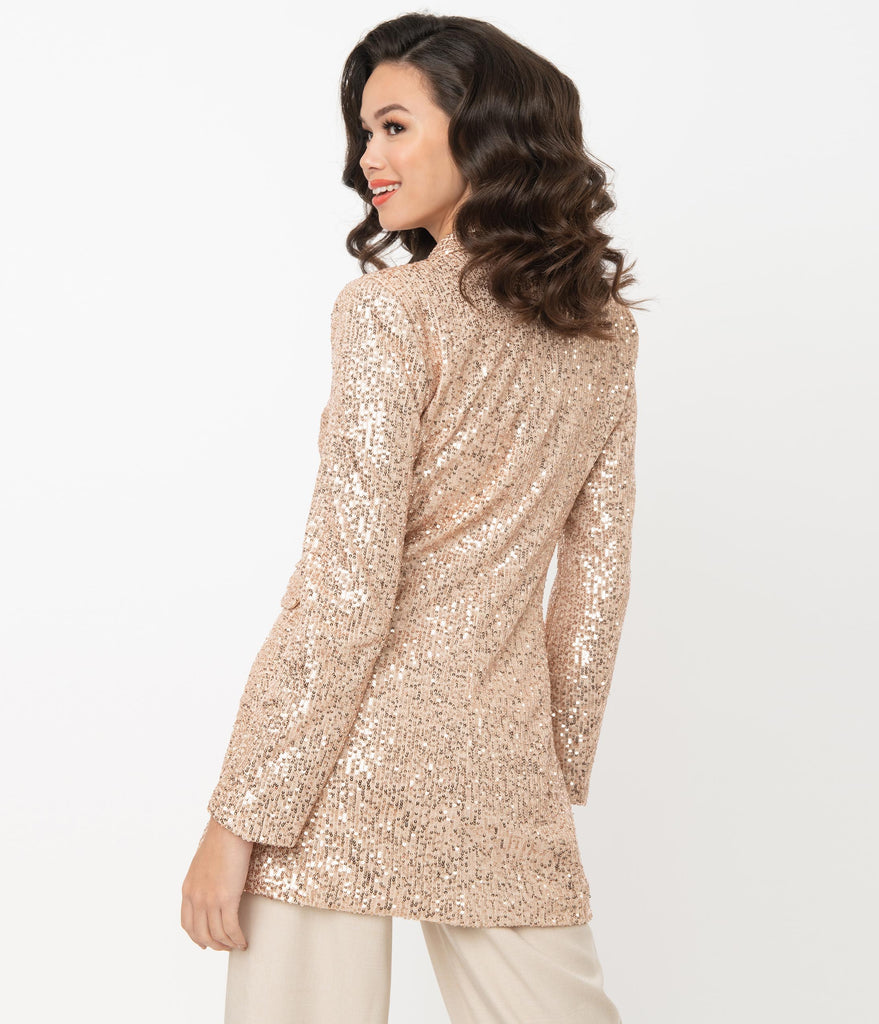 Champagne & Rose Gold Sequin Double Breasted Blazer