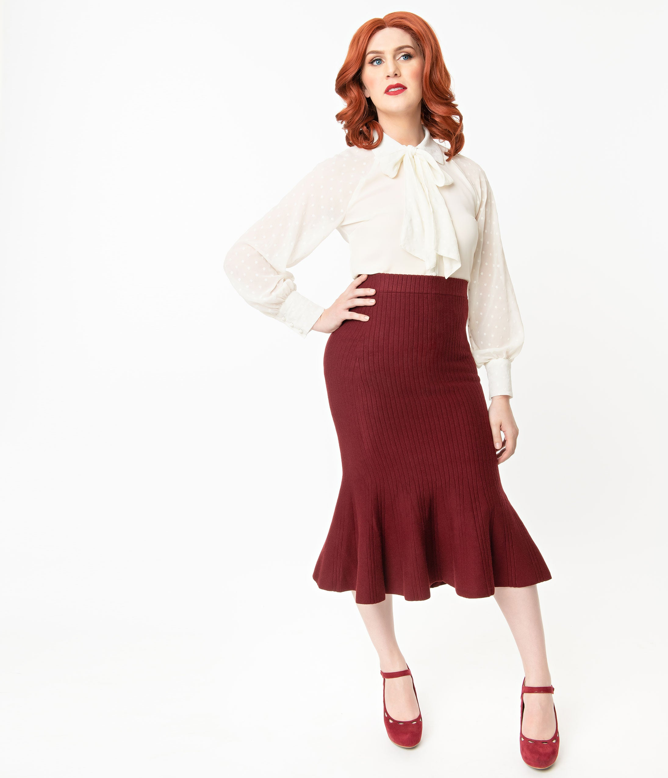 1930s Style Skirts : Midi Skirts, Tea Length, Pleated Retro Style Burgundy Sweater Trumpet Skirt $62.00 AT vintagedancer.com