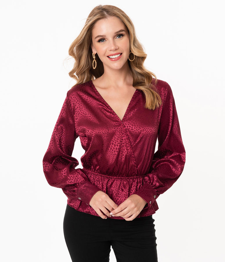 Burgundy Embossed Print Surplice Blouse