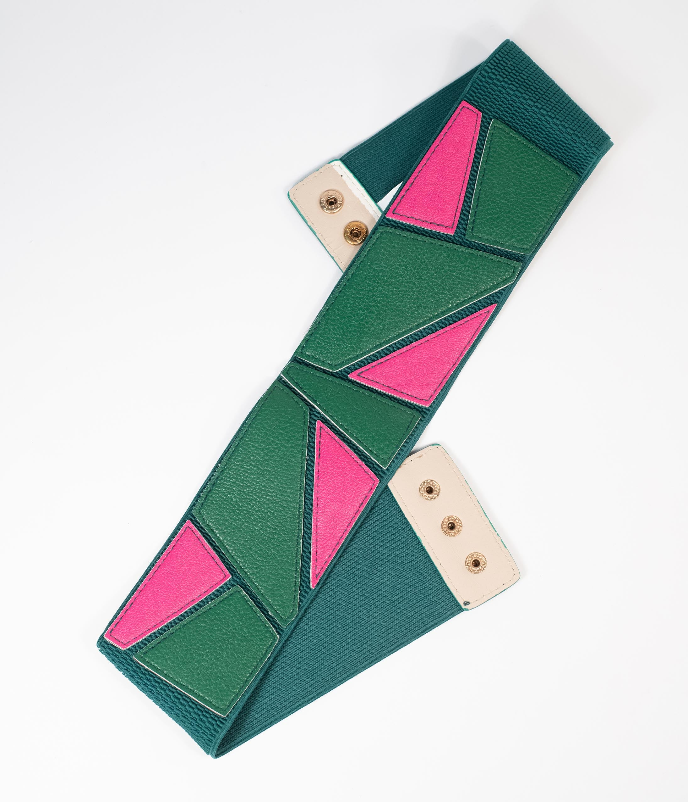 A History of Belts 1920-1960 Green  Pink Geometric Colorblock Cinch Belt $24.00 AT vintagedancer.com