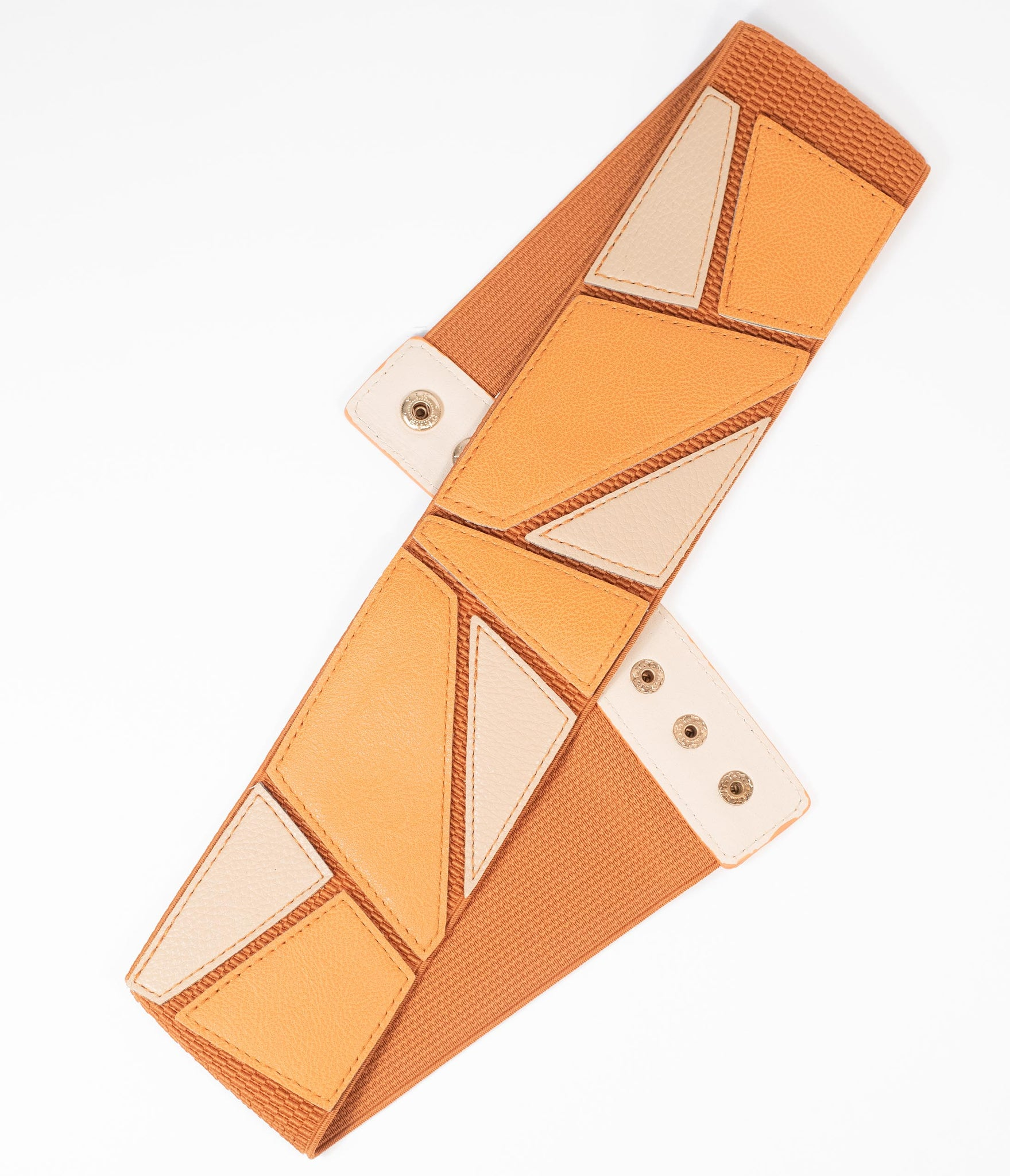 Tan & Beige Geometric Colorblock Cinch Belt