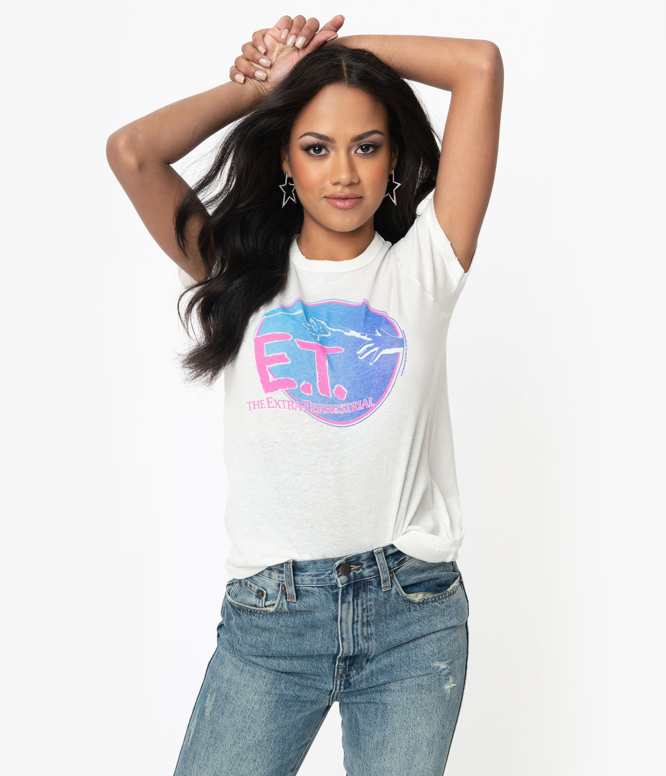 1980s Clothing, Fashion   80s Style Clothes Junk Food E.t. The Extra-Terrestrial Original Logo Tee $48.00 AT vintagedancer.com