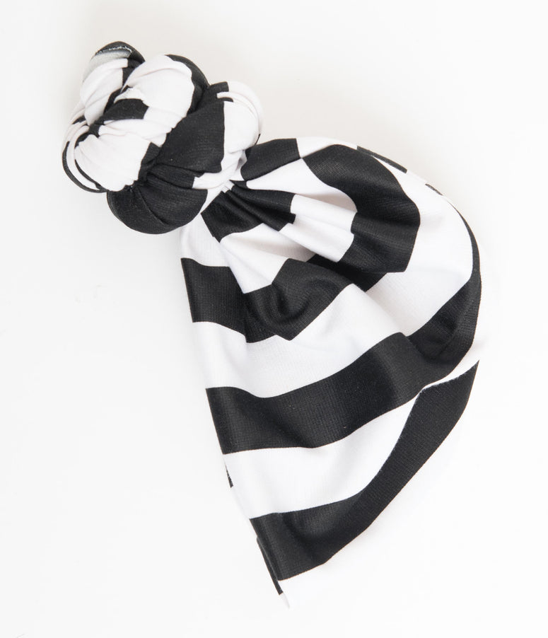 Black & White Stripe Pre-Tied Head Wrap