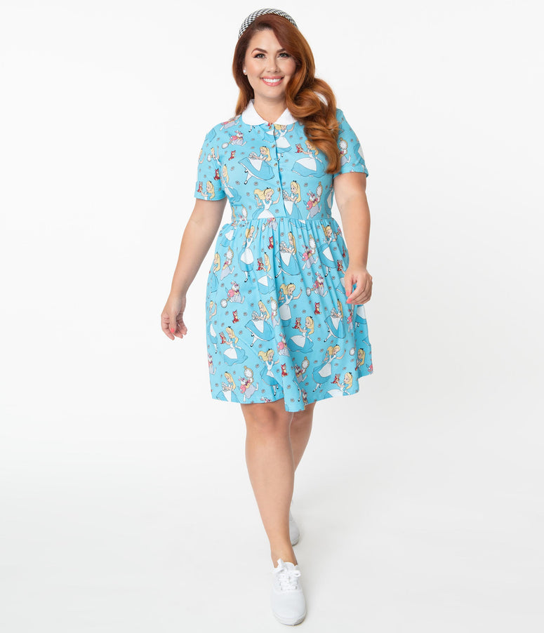 Cakeworthy Plus Size Alice In Wonderland Print Fit & Flare Dress