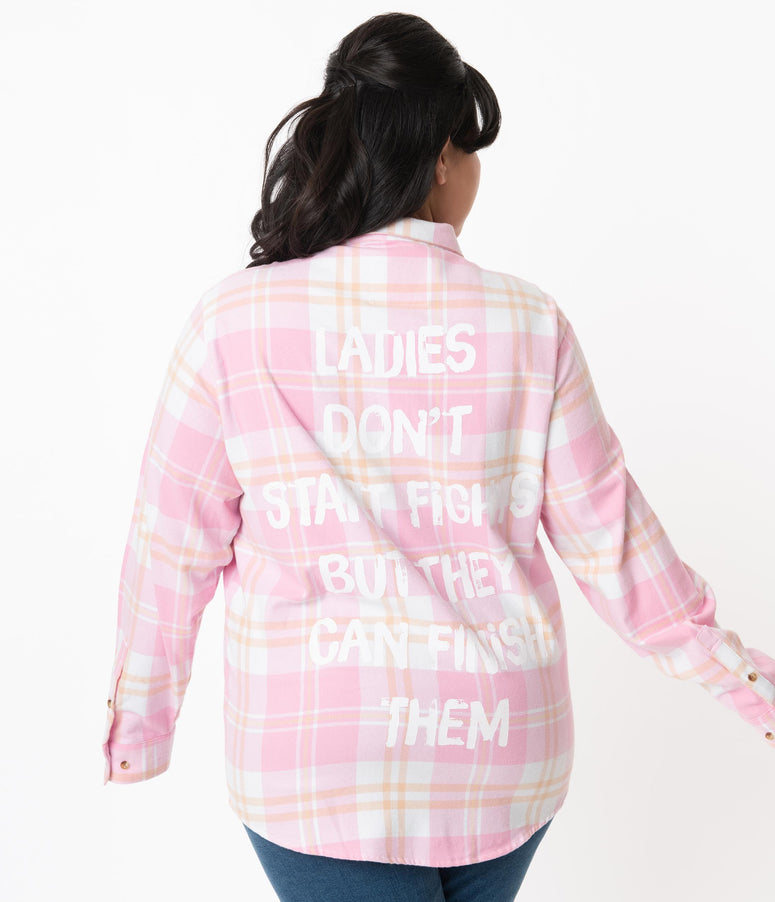 Cakeworthy Plus Size Disney Aristocats Pink Plaid Flannel