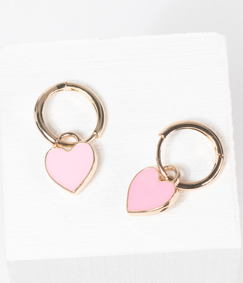 Light Pink Heart Drop Hoop Earring