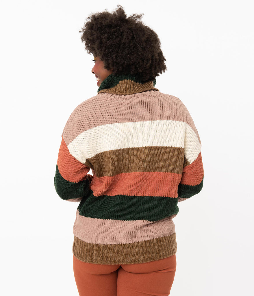 Retro Style Cocoa Striped Oversized Sweater