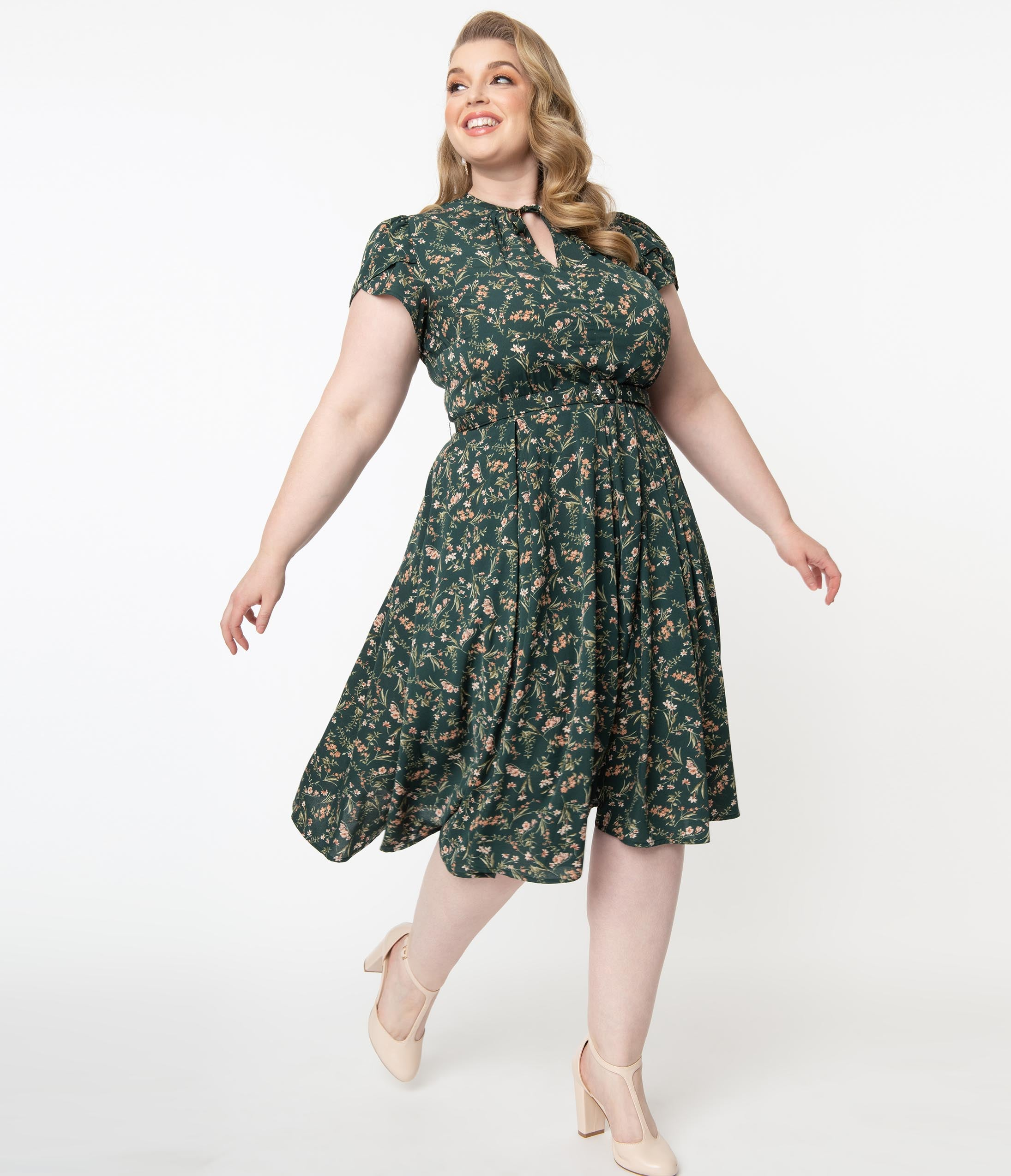 1950s Plus Size Fashion & Clothing History Unique Vintage Plus Size 1950S Emerald  Pink Floral Dahlia Midi Dress $78.00 AT vintagedancer.com
