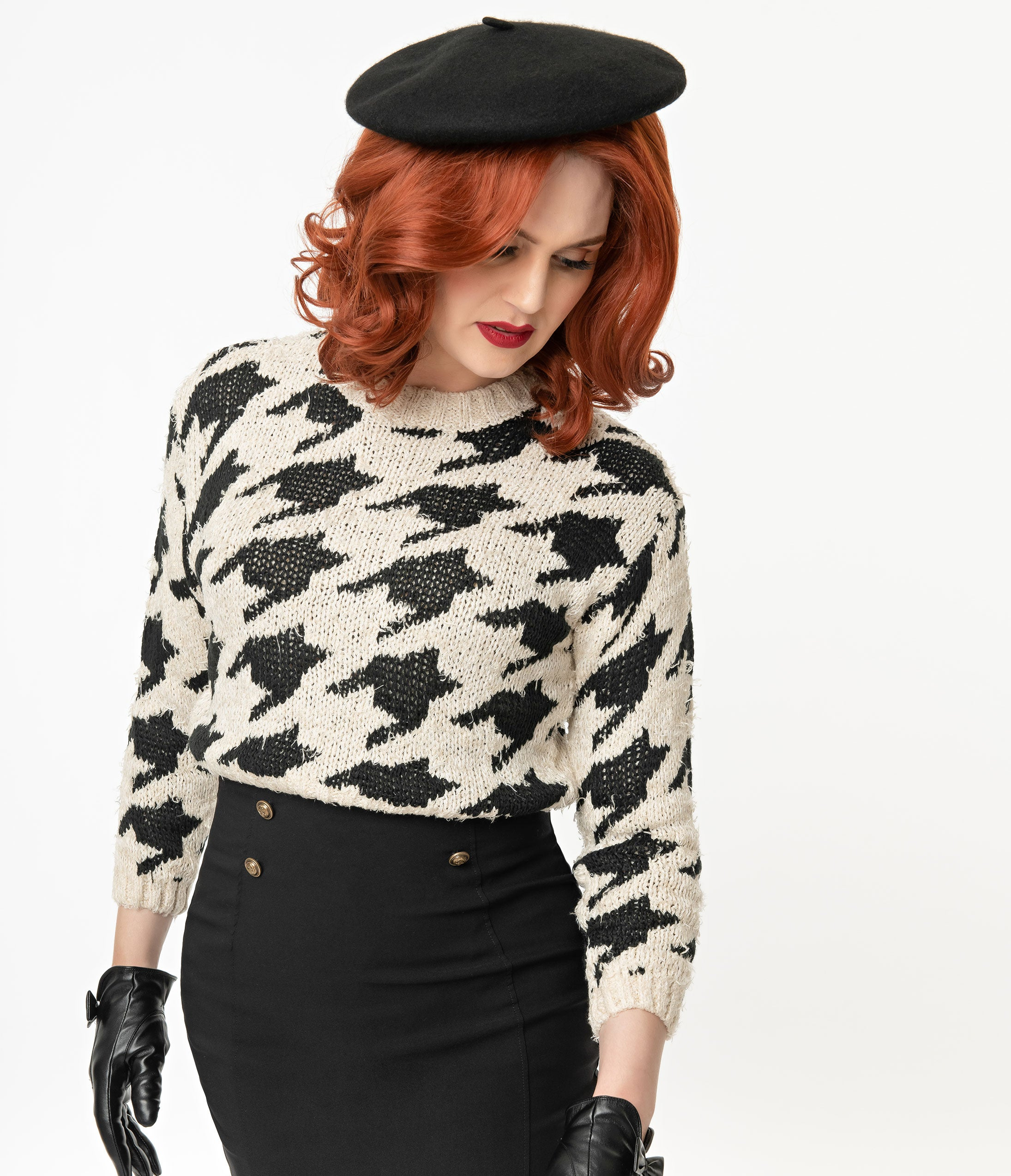 Vintage Sweaters, Retro Sweaters & Cardigan Black  Beige Oversized Houndstooth Crop Sweater $62.00 AT vintagedancer.com