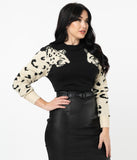 Retro Style Black & Cream Leopard Sleeve Sweater