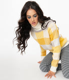 Yellow & White Plaid Turtleneck Casual Sweater